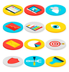 business analytics isometric icons vector image
