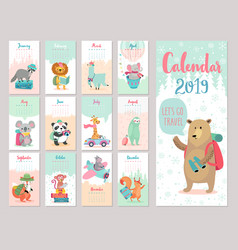 Calendar 2019 cute monthly calendar with forest vector