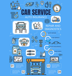 Car service infographics with auto repair charts vector