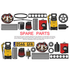 Car spare parts belts oil and bearings vector