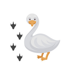 cartoon icon of funny duck and his footprints vector image
