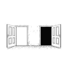 Cartoon of two open wooden decision door vector