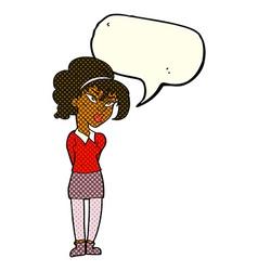 Cartoon pretty girl tilting head with speech vector
