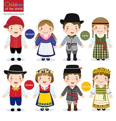 Children of the world Denmark Latvia Sweden vector
