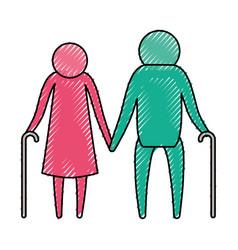 color crayon silhouette pictogram elderly couple vector image
