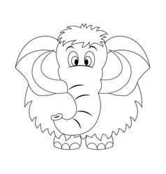 Colorless funny cartoon mammoth vector