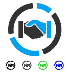 cooperation handshake diagram flat icon vector image