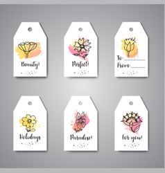 creative tags with flowers hand drawn floral vector image
