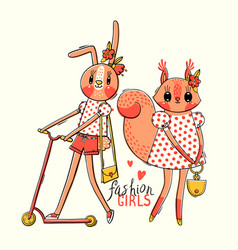 cute card with best friends babunny and vector image
