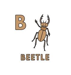 Cute cartoon animals alphabet beetle vector