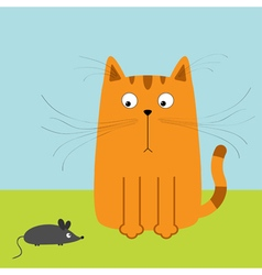 Cute red orange cartoon cat looking at mouse Big vector