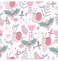 cute seamless pattern with snail vector image