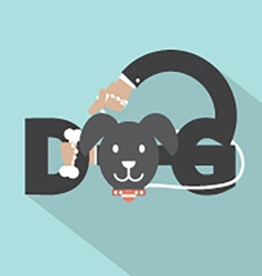 Dog With Bone In Hand Typography Design vector image vector image