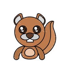 Draw beaver animal comic vector