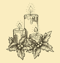 Drawing candles and holly berries and leaves vector