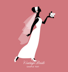 Elegant bride dressed in vintage style wedding vector
