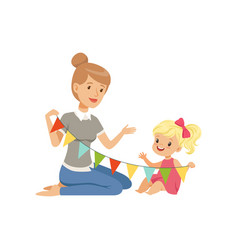 elementary teacher and little girl sitting on the vector image