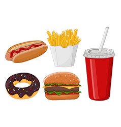 fast food colored cartoon drawing vector image