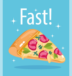 fast food slice pizza menu restaurant unhealthy vector image