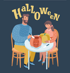 Father and daughter is carving pumpkins vector