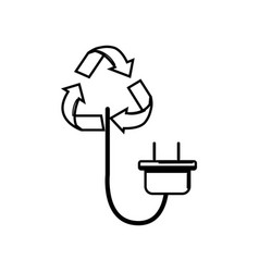 Figure reduce symbol with power cable icon vector