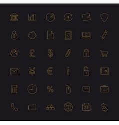 Finance and banking gold linear icons set vector image