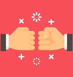 Flat design fist bump vector image