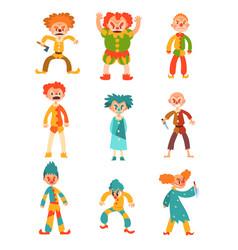 flat set evil clowns scary men in vector image