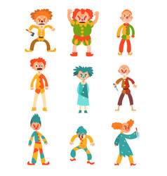 Flat set of evil clowns scary men in vector