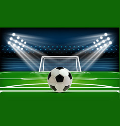 football or soccer playing field with ball sport vector image