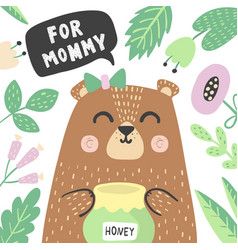 for mommy print with super cute baby bear vector image