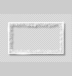 frame with white snowflakes banner vector image
