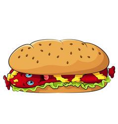 funny hot dog cartoon character with mustard vector image