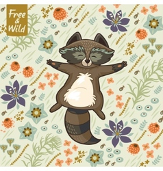 funny little raccoon resting on meadow vector image