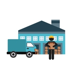 garage man truck and package icon Delivery design vector image