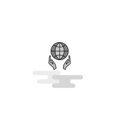 globe in hands web icon flat line filled gray icon vector image