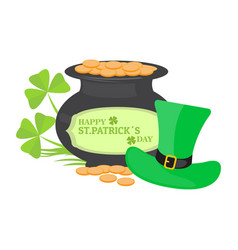 golden coin pot with an irish hat patrick day vector image