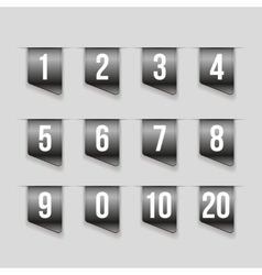 Grey ribbons with number set vector