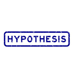 Grunge blue hypothesis word square rubber seal vector