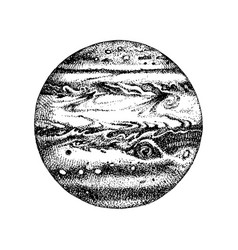 hand drawn planet jupiter vector image