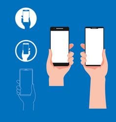 hand holding smartphone design elements vector image