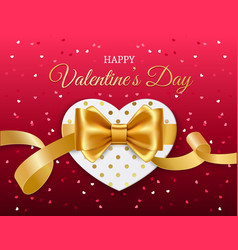 heart with golden ribbon and bow valentines day vector image