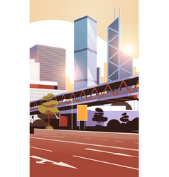 highway road to city skyline with modern vector image