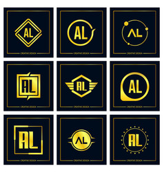 Initial letter al logo set design vector