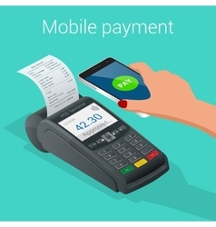 Isometric Pos terminal confirms the payment by vector image vector image