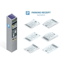 Isometric set of Parking tickets and carking meter vector