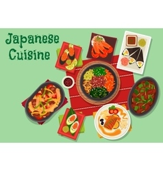 Japanese cuisine spicy dinner dishes icon vector image