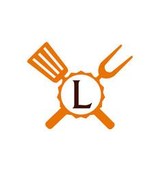 logo restaurant letter l vector image