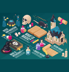 Magical isometric infographics scheme vector