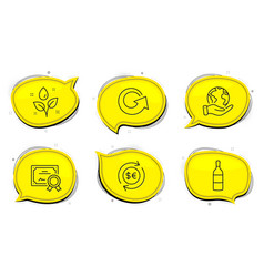 Money currency reload and wine bottle icons set vector